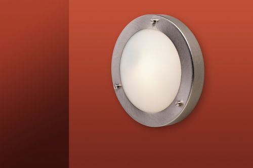 Firstlight 2745BS Brushed Steel with Opal Glass Rondo Wall / Flush Fitting